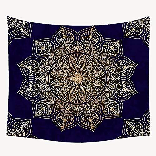 Bdhbeq Tapiz de Mandala Dorado Estilo Boho decoración para Colgar en la Pared Mandala en Blanco y Negro Sol y Luna Tapiz de Estilo Boho Tapiz Chal Alfombra