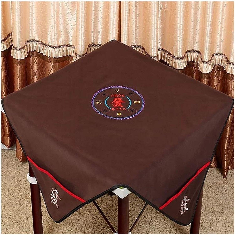 Mahjong Tischdecke, Braun Rechteckig Mit Taschenstickerei Groe Dicke Mahjong Matte, Geeignet Für Mahjong Spiele Kartenspiele (100  100 cm) (Farbe   braun)