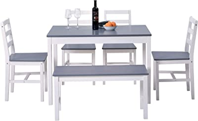 Dining Table and Chairs Set of 4 and Bench Solid Pine Kitchen Table and Chairs Set (Grey+White,1 Table+4 Chairs+1bench)