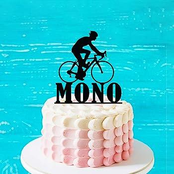 Decoración para tarta de bicicleta, personalizable para tarta de cumpleaños con nombre y edades, decoración para ciclista o ciclismo: Amazon.es: Hogar