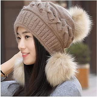 LBLMS Hat Female Winter Rabbit Fur hat Women's Fashion Twist Wool hat Autumn and Winter Warm Knit Cap Gray (Color : Brown)