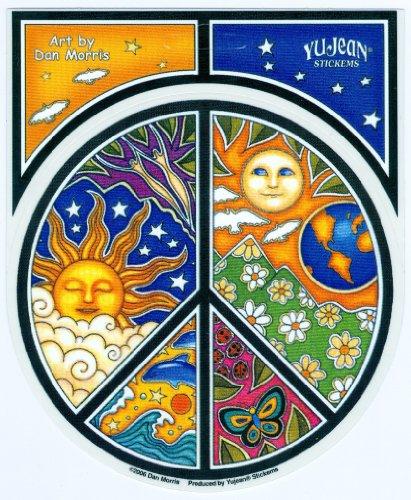 Dan Morris - #1 World Famous, Celestial PEACE Symbol Window STICKER ADESIVO Decal 4.75' x 4.75' Vinyl Die-Cut - UV Weather Resistant, Extra Long Lasting