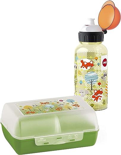 Emsa 518139 Kinder Set Trinkflasche + Brotdose; Motiv: Fuchs; BPA frei; Material: Trinkflasche aus Tritan (bruchfest und unbedenklich), Brotdose...