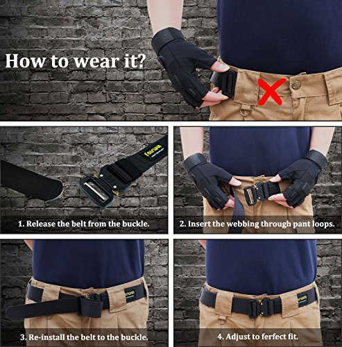 IDEATECH Tactical Belt,1.5 Inch No Holes Qui   ck Release Heavy Duty Tactical Belt for Men and Women