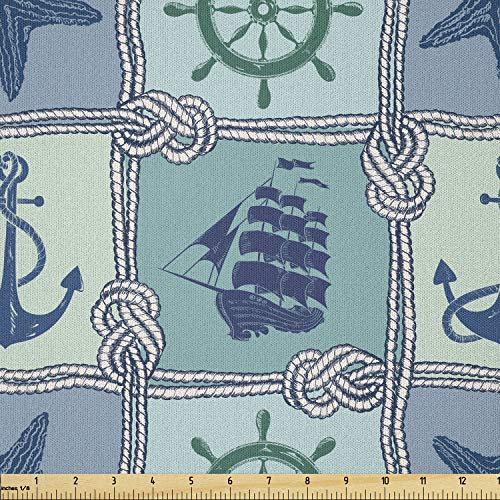 Lunarable Ship Fabric by The Yard, Nautical Themed Art Marine Starfish Wheel Anchor and Vessel Sailor's Knot, Microfiber Fabric for Arts and Crafts Textiles & Decor, 1 Yard, Pale Blue