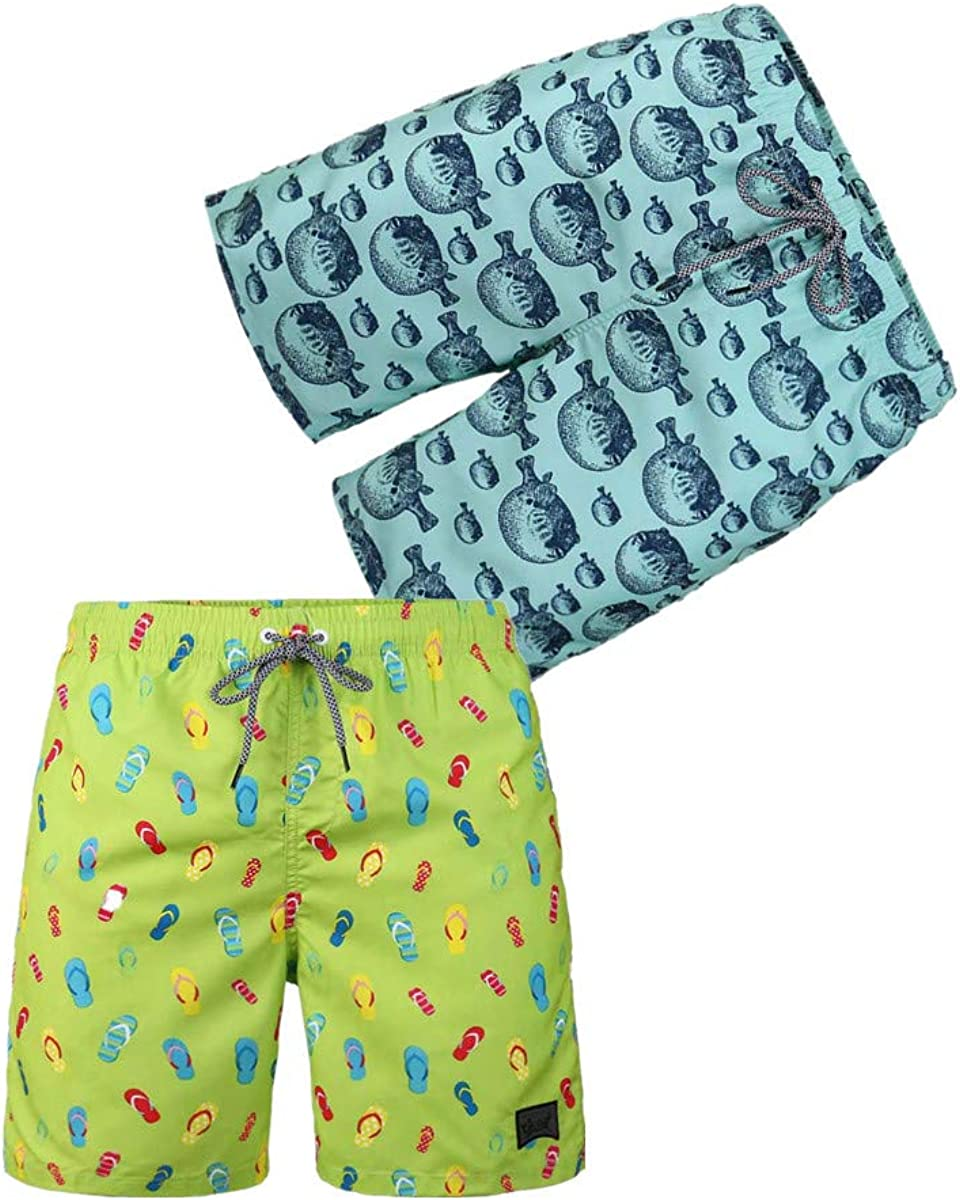 BG 2-Pcs Pack Men's Design Rash Guard Jamaica European Style Underwear Fast Dry Swimwear