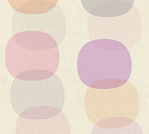 A.S. Création vliesbehang Pop Colors behang in retro design retrobehang jaren '70 stijl 10,05 m x 0,53 m blauw bruin geel Made in Germany 355901 35590-1 Vormen en strepen grijs, oranje, roze.