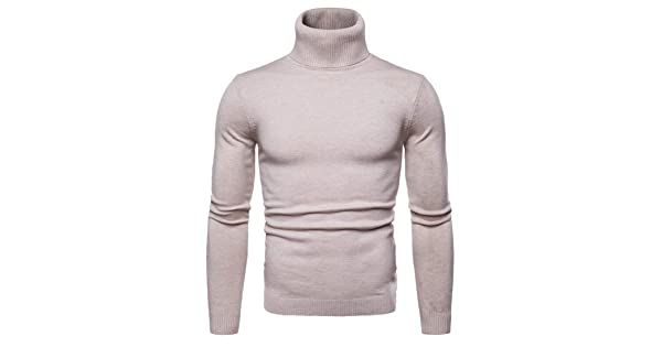 M/&S/&W Mens Basic Turtleneck Ribbed Slim Fit Knitted Pullover Thermal Sweater