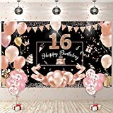 16. Geburtstag Mädchen Deko, Banner 16 Geburtstag Roségold, 16 Schild Geburtstag mit Luftballons, Geburtstagsdeko 16. Geburtstag Hintergrund Banner Für Mädchen Frauen Geburtstagsfeier Deko