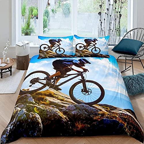 ZHOUJIELUN Fundas Nordicas 220x230 cm Bicicleta de montaña Ropa De Cama con Cremallera Suave Transpirable Microfibra y 2 Fundas de Almohada de 50x80 cm