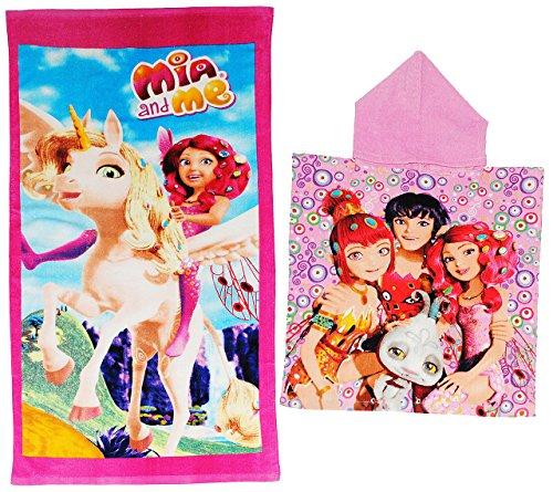 alles-meine.de GmbH 2 TLG. Set: Badetuch + Badeponcho -  Mia and Me  - 70 cm * 140 cm Handtuch - Strandtuch - 100 % Baumwolle - Mädchen - 70x140 für Kinder - Erwachsene Badehan..