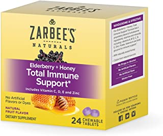 Zarbee's Adult Elderberry Plus Honey Total Immune Support Chewable, 24 Count
