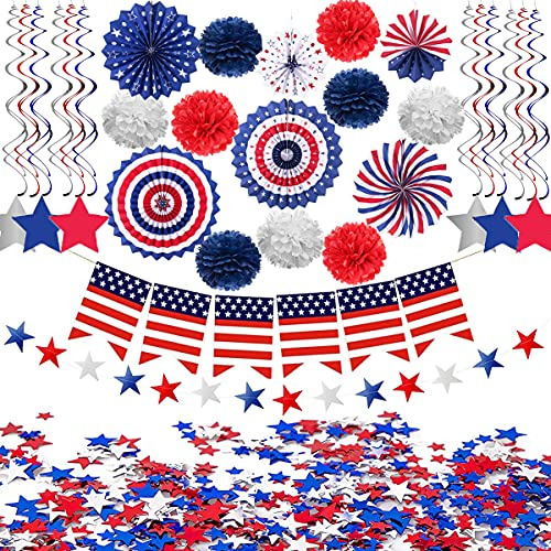 Jofan 30 PCS 4th of July Decorations Set with Red Blue White Decor for Independence Day Fourth of July Decor