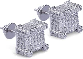 Iced Out Mens Earring Cubic Zirconia Cubist Screw Back 18k Yellow Gold plated Hypoallergenic Square Stud Earring For Men and Women Hip Hop Jewelry