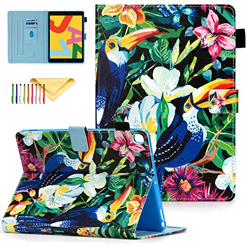 Case Fit for Apple iPad 7th Generation 10.2 Inch 2019, Uliking PU Leather Skinshell with Card Slots & Stand Feature Protective Smart Cover for Apple iPad 10.2' 2019, Flower Bird