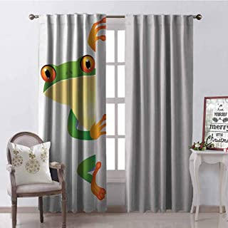 Tapesly Reptile Blackout Curtain Funky Frog Prince with Big Eyes on Wall Camouflage Nursery Reptiles Decor 2 Panel Sets W52 x L72 Inch Green Yellow Orange