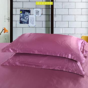 DEHMAN Satin 600 TC Pillow Cover (Pink_King)