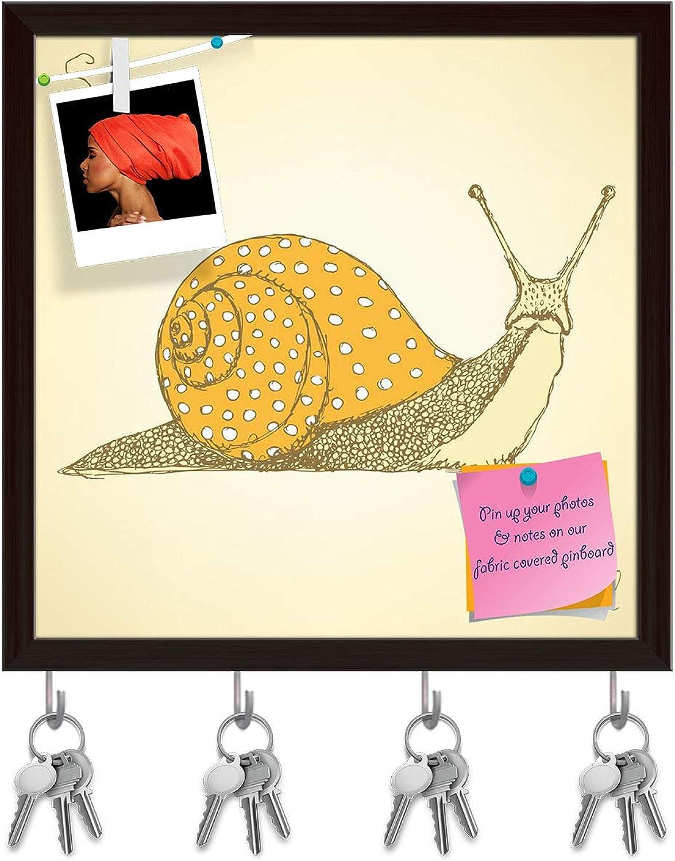 Artzfolio Fancy Snaill Key Holder Hooks   Notice Pin Board   Dark Brown Frame 20 X 20Inch