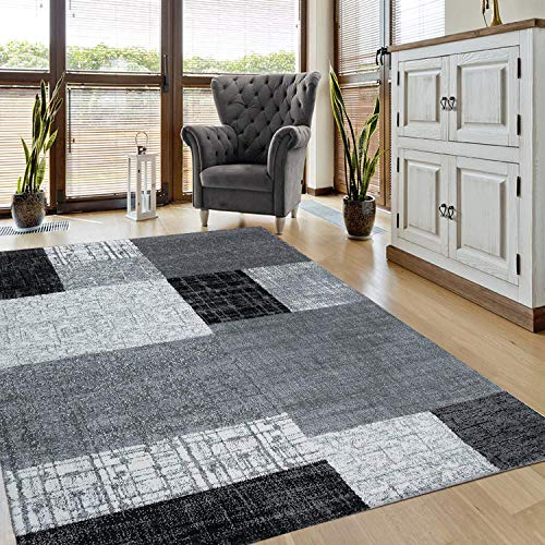 VIMODA Teppich Wohnzimmer Kurzflor Designer Teppiche in Schwarz Grau Weiß Kachel-Optik Kariert Pflegeleicht, Maße:200x290 cm