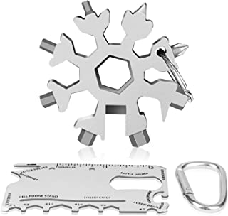 ATHLERIA 18-in-1 Snowflake Multi Tool Set - Stainless Steel Snowflake Multi-Tool Kit Christmas Gift with Credit Card Tool, Carabiner - Pocket Multifunctional Gadgets for Outdoor Camping (Silver)