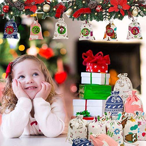 GoHist Calendario de Adviento para rellenar, bolsas de tela, calendario de Adviento 2020 para niños, bolsas de regalo, calendario de Navidad, juego de manualidades, 24 unidades
