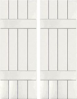 Cottage Red Ekena Millwork EB0110500X027500MCR Exterior Mahogany Three Board Two Batten Board-n-Batten Shutters 10 1//2W x 27 1//2H Per Pair