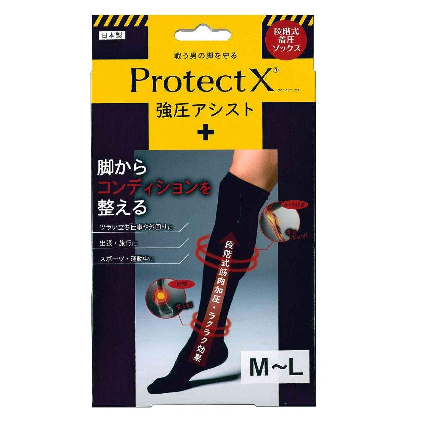 謎めいた物思いにふける法廷Protect X(プロテクトエックス) 強圧アシスト つま先あり着圧ソックス 膝上 M-Lサイズ ブラック