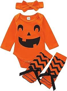 Baby Girl Halloween Costume Toddler Kids Long Sleeve Pumpkin Romper Bodysuit Outfits with Headband