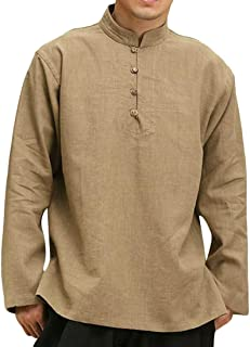 Macondoo Men Long Sleeve Autumn Stand Collar Solid Button Down Henley Shirts
