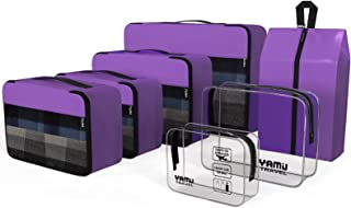 YAMIU Packing Cubes 7-Pcs Travel Organizer Accessories with Shoe Bag and 2 Toiletry Bags(Purple)