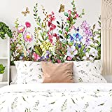 Outus 2 Sheets Flower Wall Decals Removable Large Flower Clusters Butterfly Wall Stickers DIY Peel and Stick Art Murals for Kids Room Nursery Classroom Bedroom Living Room Home Decor (Charming Style)