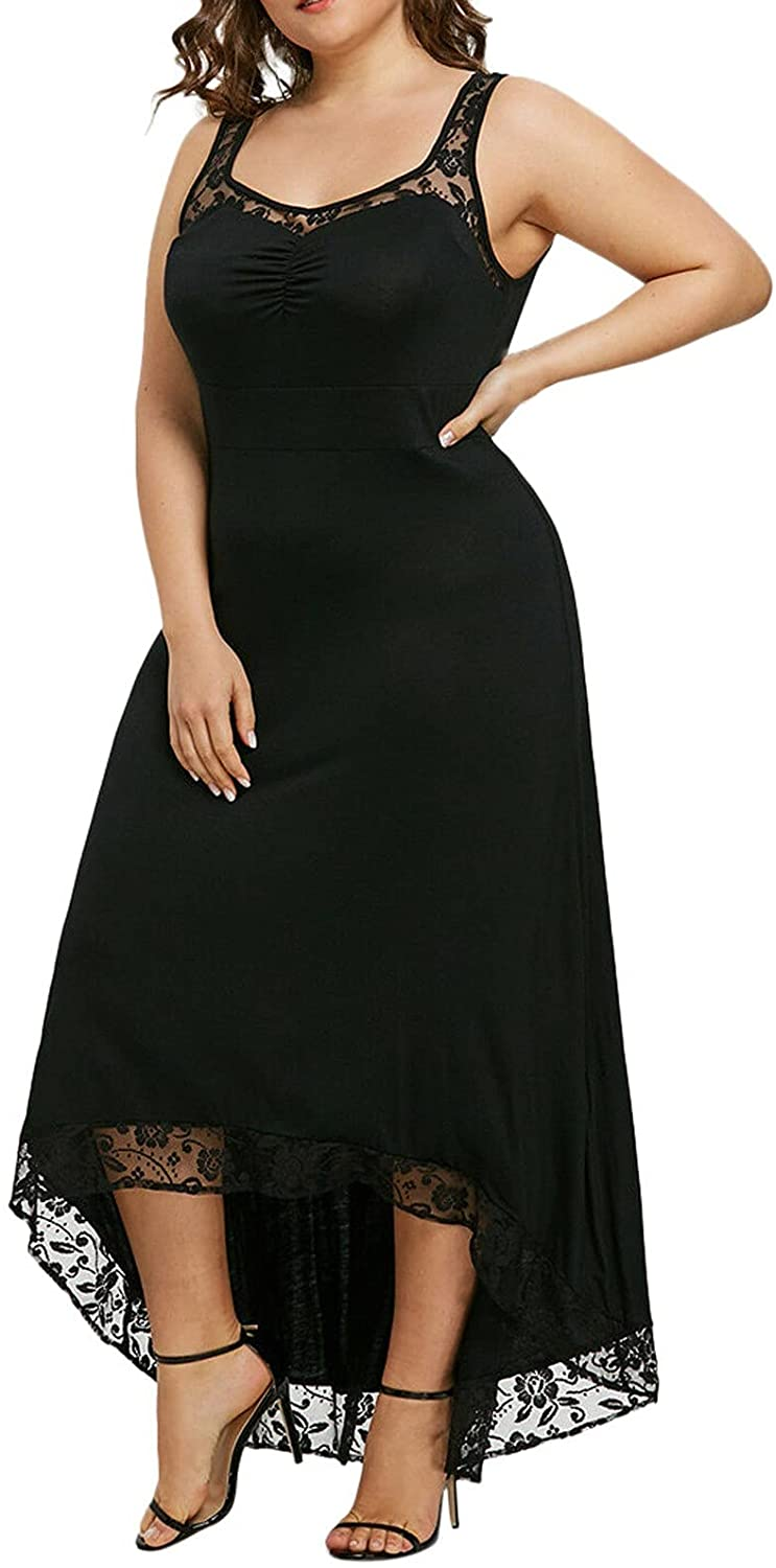 Women's Fashion Plus Size Casual O-neck Lace Solid Color Vest Sleeveless Sexy Evening Dress