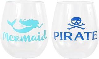 DEI 20633 Plastic Stemless Wine Glass, 8.0 x 3.0 x 4.5, Blue/Green