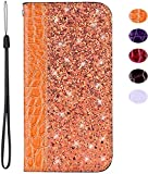 vingarshern Hülle für Elephone P8000 Schutzhülle Etui Klappbares Magnetverschluss Flip Hülle Lederhülle Glitzer Handytasche Elephone P8000 Hülle Leder Tasche(Orange) MEHRWEG