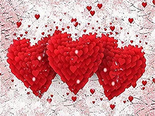 5D Kit de Pintura de Diamante para Manualidades - Tres corazones rojos amor - 5D Diamond Pintura de Diamantes diseño