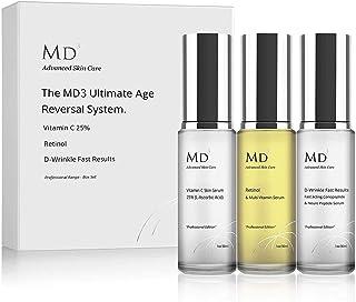 Anti-Ageing - Set de 3 Productos para el Cuidado de la Piel: Sérum Retinol 2%, Crema Antiarrugas D-Wrinkle, Sérum de Vitamina C 25% (30 ml Cada Uno)
