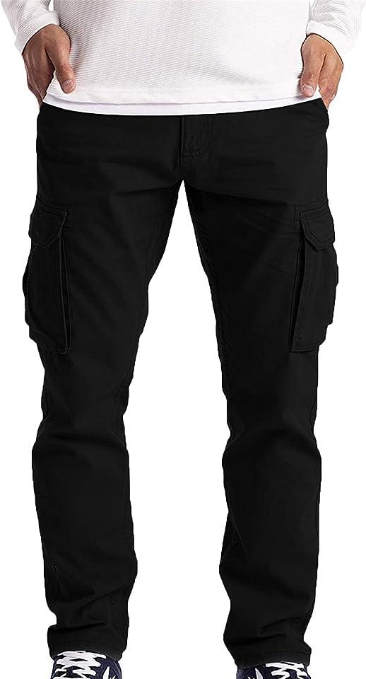 Men's Cargo Pants Outdoor Hiking Pants Multi-Pocket Military Tactical Cargo Pants Casual Loose Multi Pocket Cargo Pants (Large,Black)