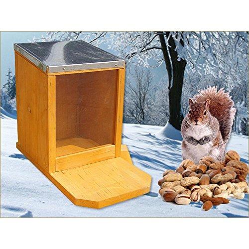 Melko Futterhaus Eichhörnchen Futterautomat Futterstation Holz Plexiglas Zinkdach