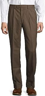 Men's Total Comfort Wool Pleated Dress Pants (Olive, 42W x 30L)
