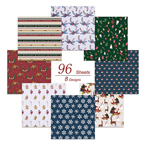 Paperkiddo 96 Pack Origami Paper Papel plegable Patrón de Navidad diferente Papel de calidad premium para niños Artes y manualidades 20cm * 20cm