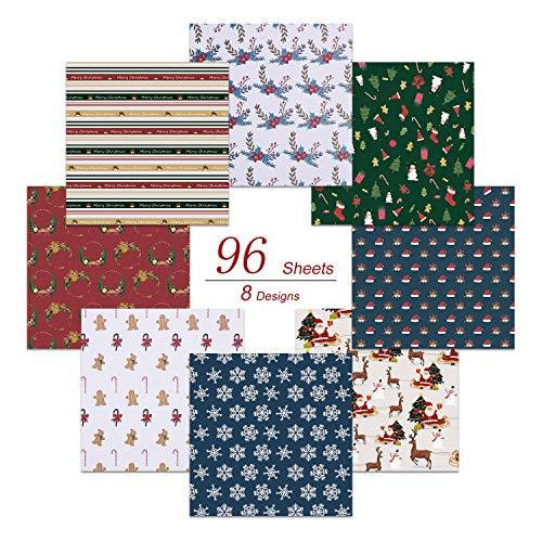 Paperkiddo 96 Pack Origami Papier Craft Vouwpapier Verschillende Kerst Patroon Premium Kwaliteit Papier voor Kinderen Kunsten en Ambachten 20cm*20cm