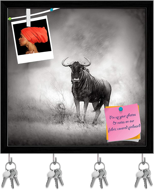 Artzfolio bluee Wildebeest in Rainstorm Key Holder Hooks   Notice Pin Board   Black Frame 20 X 20Inch