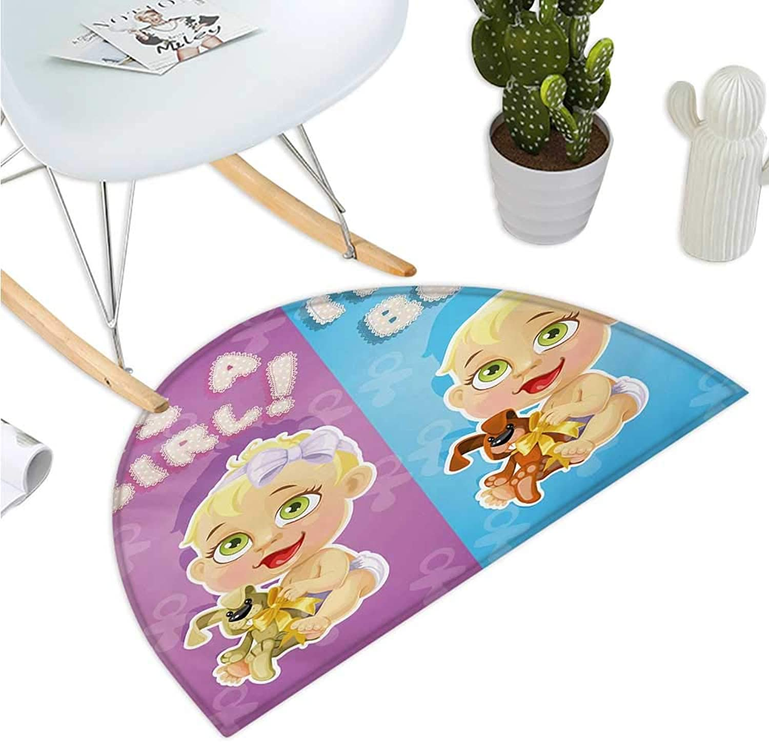 Gender Reveal Semicircular Cushion Girl and Baby Boy with Dogs Puppy Cute Figures Congratulations Birthday Theme Halfmoon doormats H 51.1  xD 76.7  Multicolor