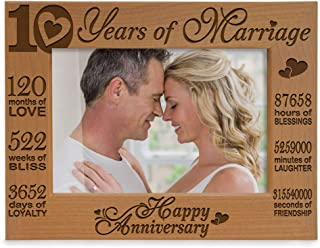 KATE POSH - Our 10th Wedding Anniversary Picture Frame, 10th, 10 Years Anniversary, 10 Years of Marriage, 120 Months of Love - Engraved Natural Wood Picture Frame (4x6-Horizontal)