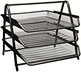 Greenco Mesh 3 Tier Document, Letter Tray, Desk Organizer, Black
