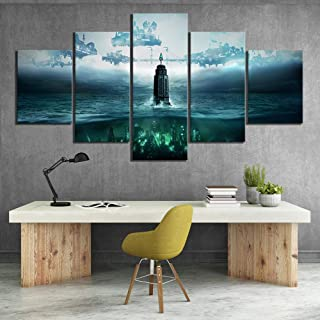QYLLXSYY 5 Piece HD Fantasy Art Steampunk Style Pictures Bioshock The Collection Video Game Poster Canvas Paintings for Wall Decor Printed Picture (Color : No Frame, Size (Inch) : Size3)