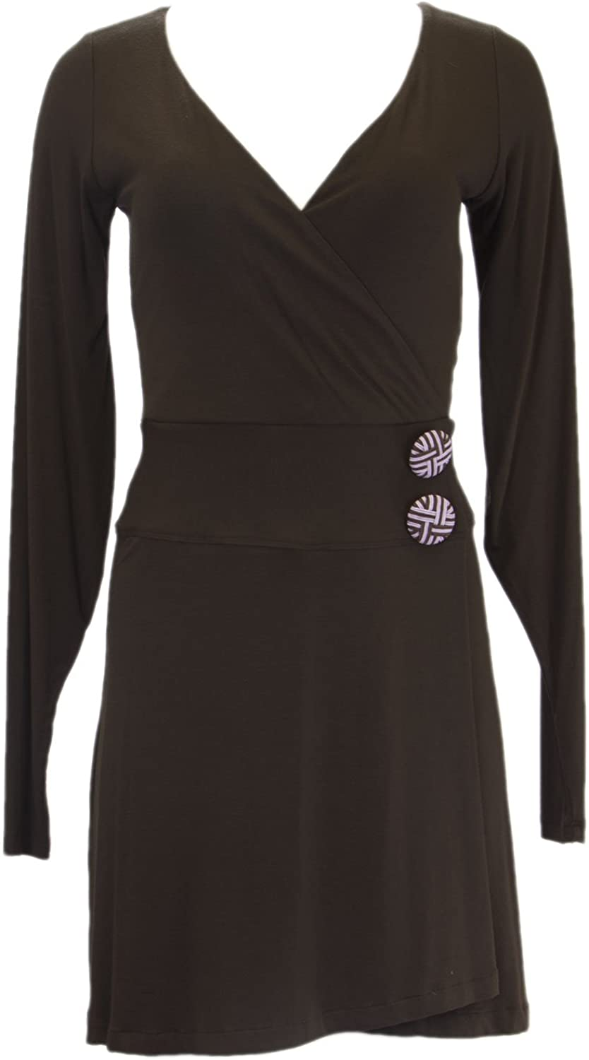 ANALILI Women's Oversized Buttons Accent Long Sleeve Wrap Dress Small Brown