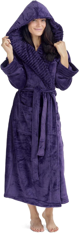 CityComfort Damen Morgenmantel Shaggy weichen Mädchen Fleece Kimono Kleider Robe Bademantel Loungewear - Ribbon Wrapped Dunkellila