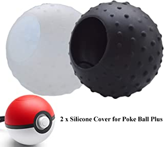 Skin Cover Compatible with Nintendo Switch Poke Ball Plus Controller, Hikfly Silicone Pokeball Grip with Stdus Case Protective Portable Accessories for Pokémon Lets Go Pikachu Eevee Game (Black,White)