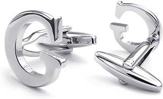 HONEY BEAR Initial Alphabet Letter Silver Cufflinks for Mens Shirt, Stainless Steel for Business Wedding Gift